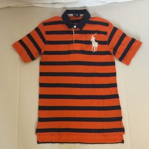 Boys Polo By Ralph Lauren Orange/Blue Stripe Ruby